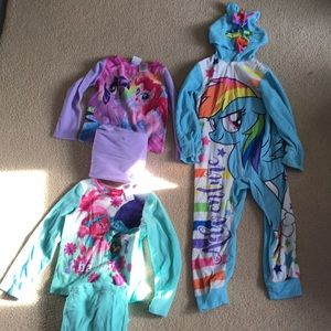 Girls 4/5 & 4t pajamas my little pony, trolls